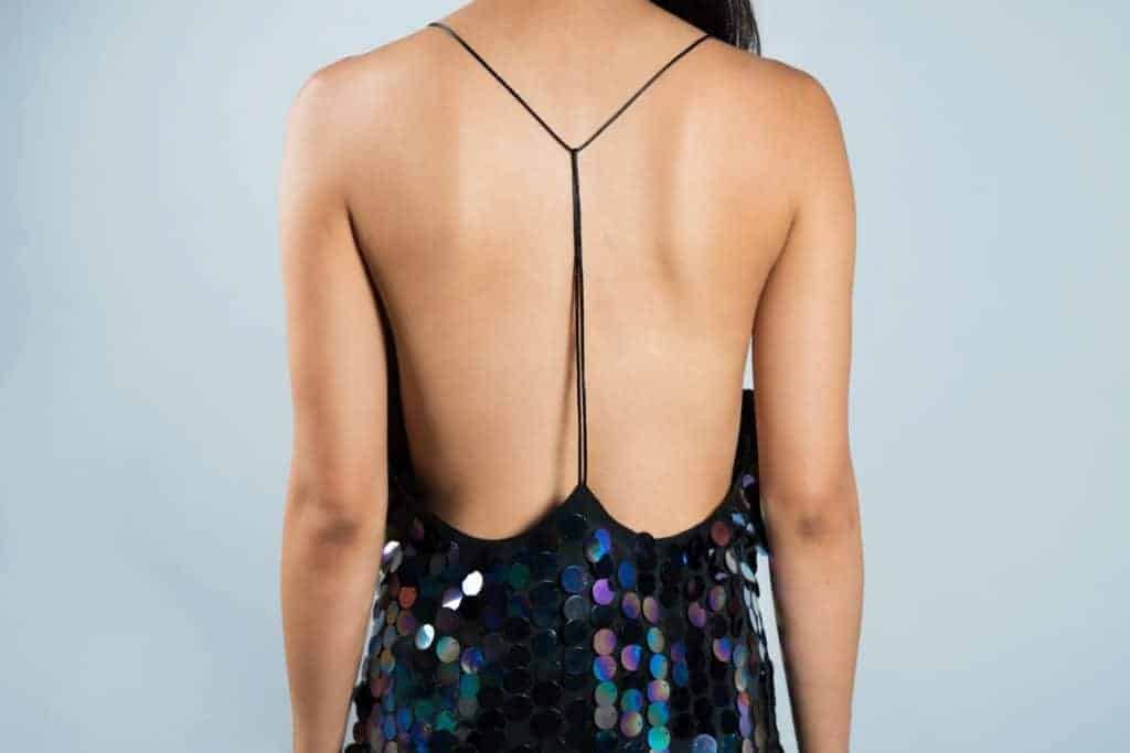 backless dress using adhesive bra