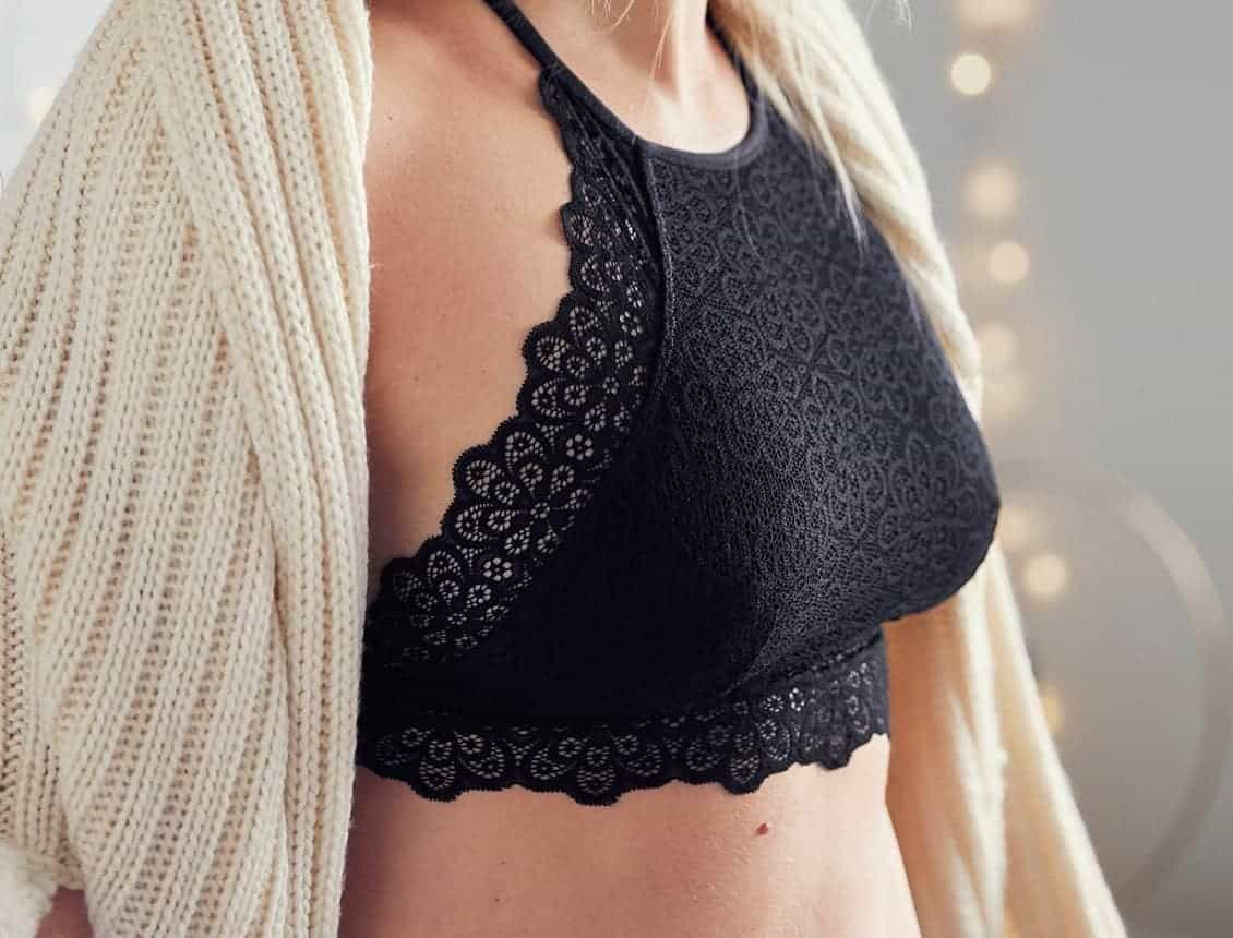 Girl in a lacy black high neck bralette with a thick coat for coverage