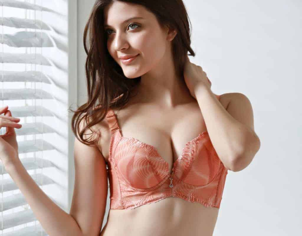 Dark haired woman stands by the window wearing a peach plunge bra