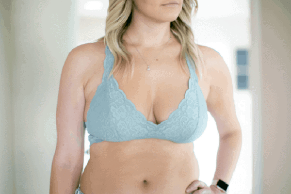 Woman in a blue lace bralette