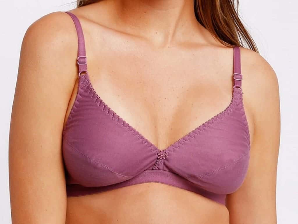 Woman wears a plum soft cup bra