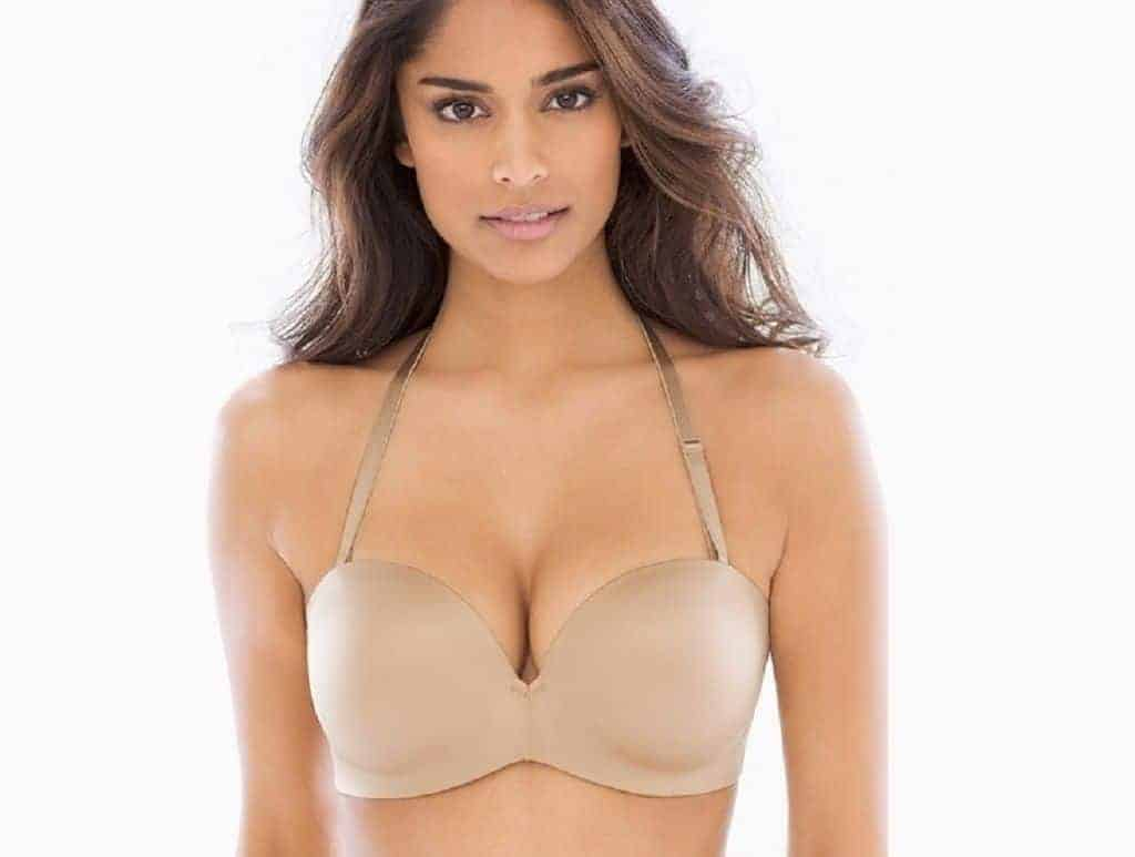 Woman wears a nude halter push up bra