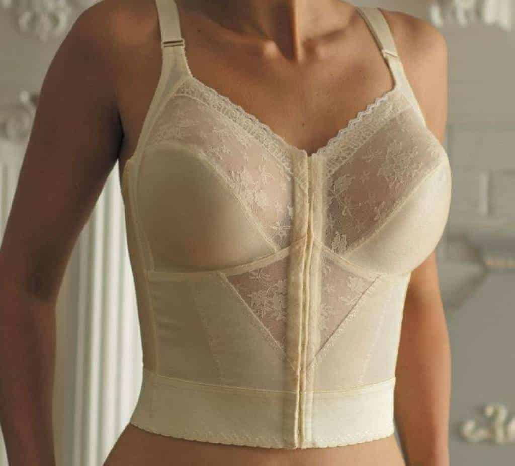 Woman wearing a nude longline bra