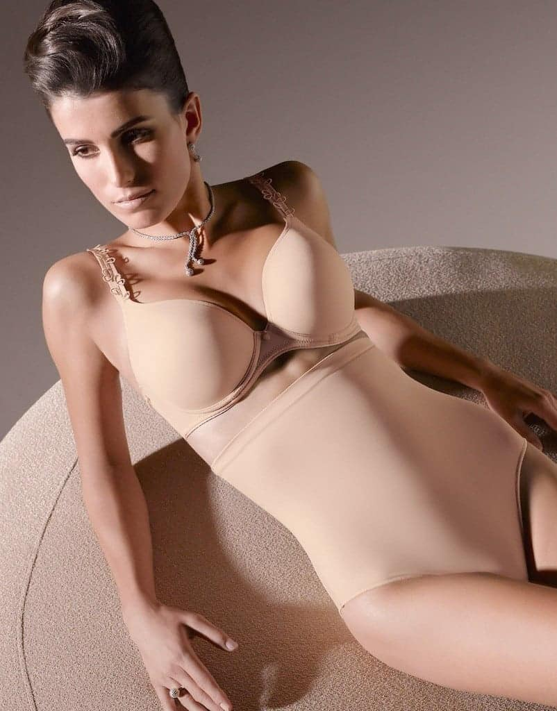 Woman in a nude bra and nude body shaper
