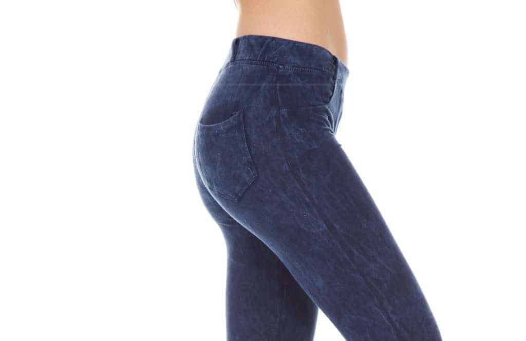 Blue denim style leggings with pockets