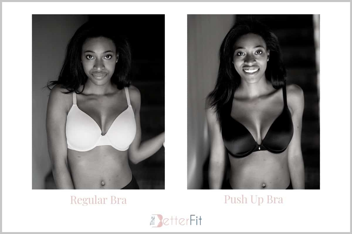 A DD girl shows before and after of a regular bra and push up bra