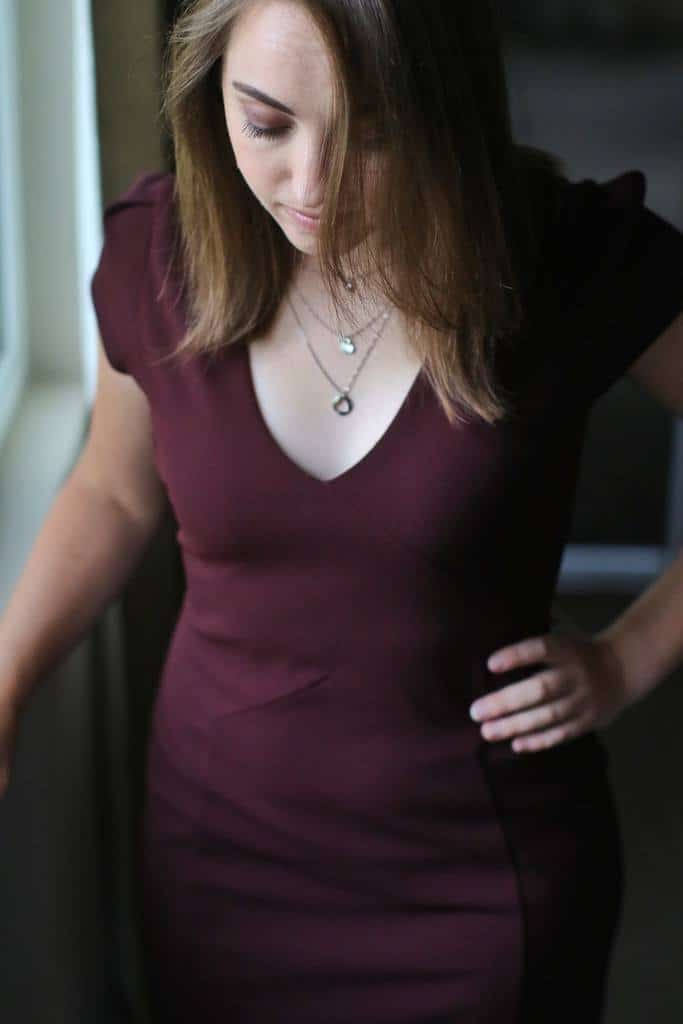 Portrait of a woman in a maroon dress