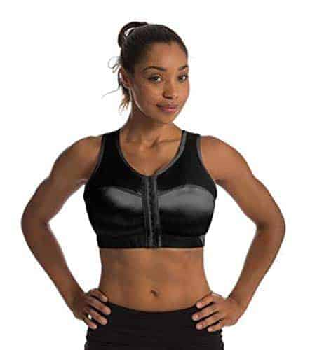 Woman wearing a black front clasping sports bra