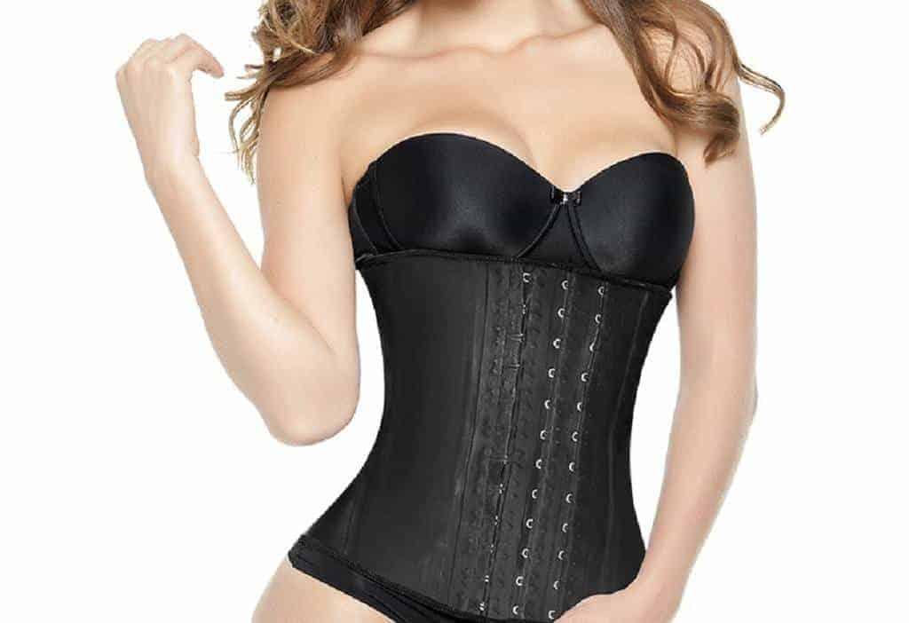 Woman wearing a black corset