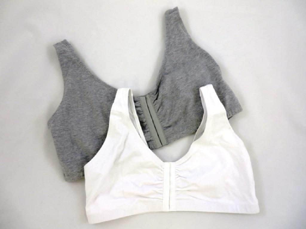 Gray and white front clasping sports bras