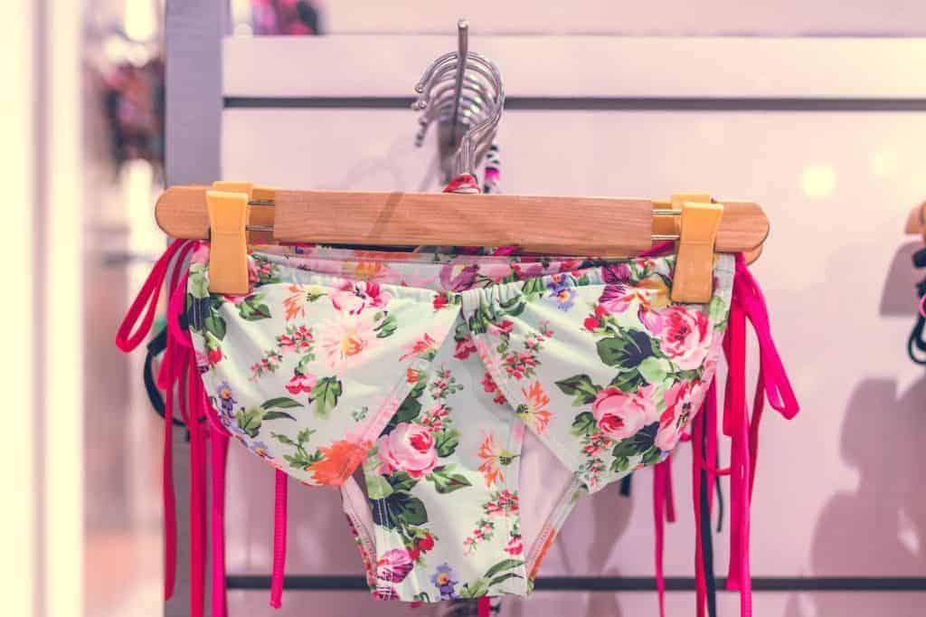 Floral bikini on a hanger