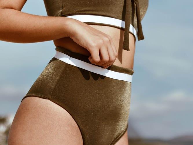 Woman wearing high cut underwear