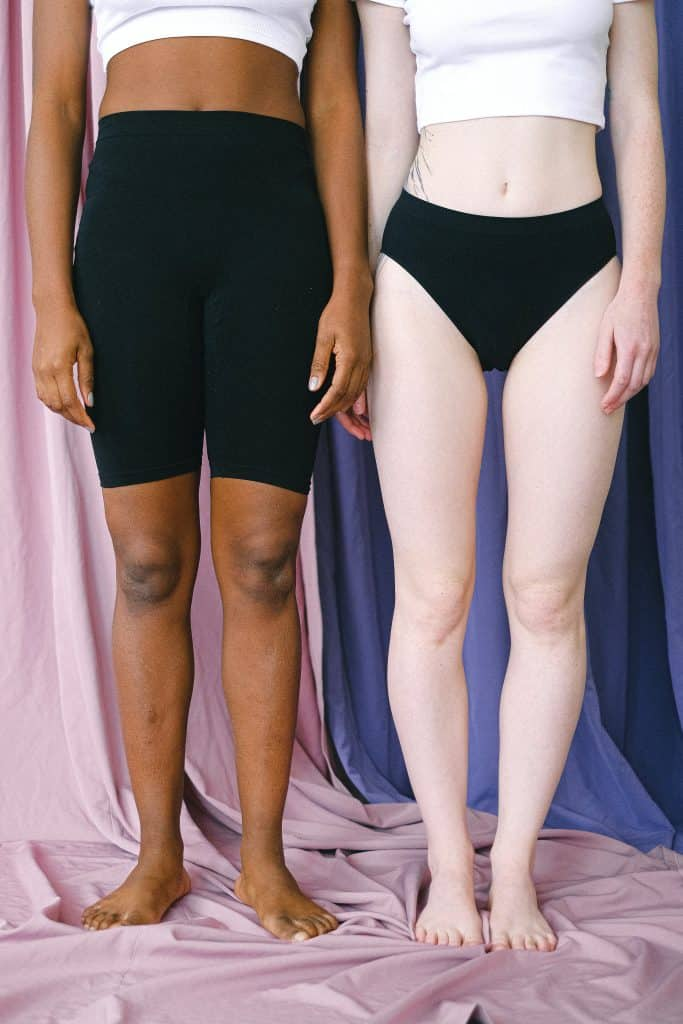 Two women shown wearing different kinds of underwear and intimate apparel