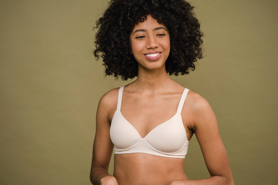 Woman wearing a bra that hides her nipples