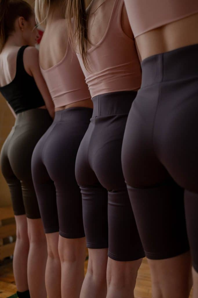 Women wearing shapewear undergarments