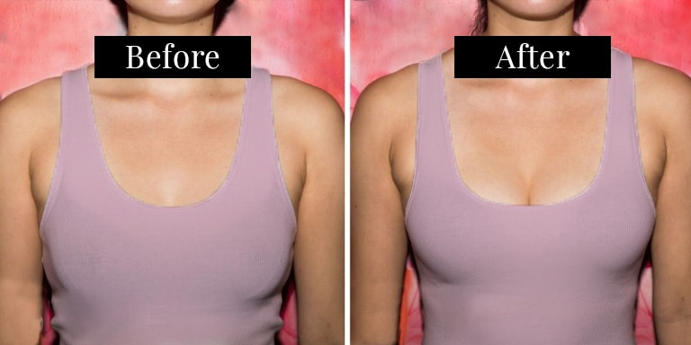 Victoria's Secret Bombshell Bra before and after on a 32C cup
