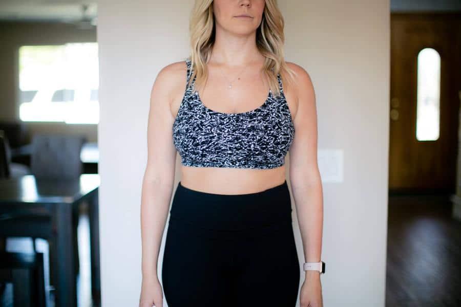 Woman wearing a blue sports bra