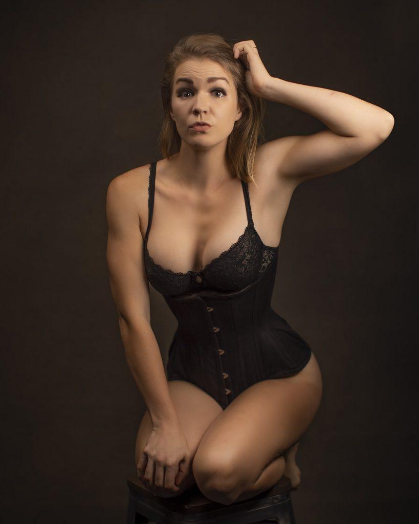 Woman wearing a waist trainer