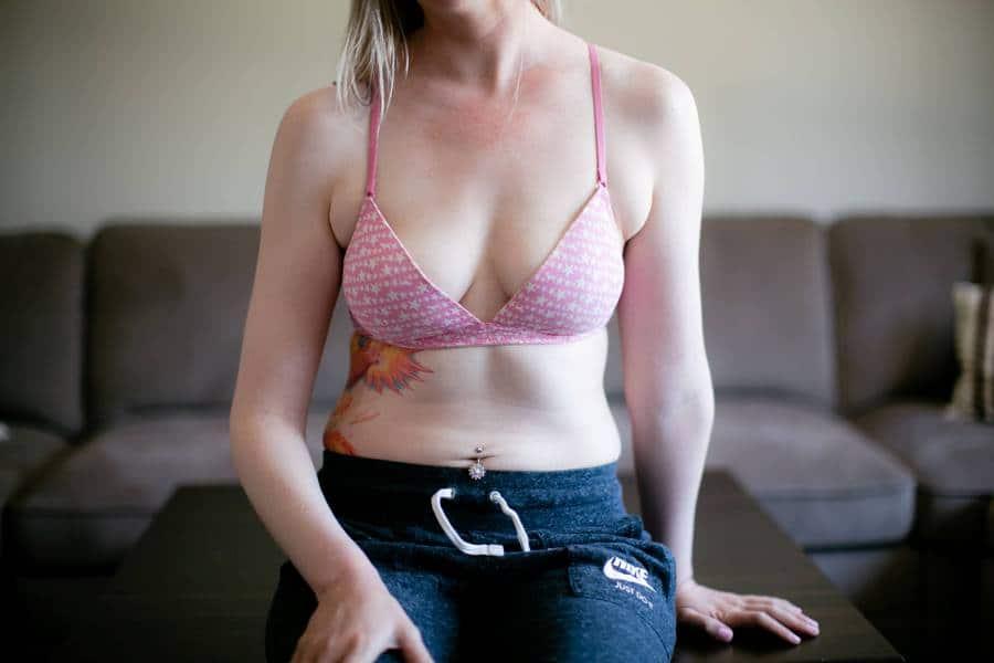 Woman wearing a pink wireless bra